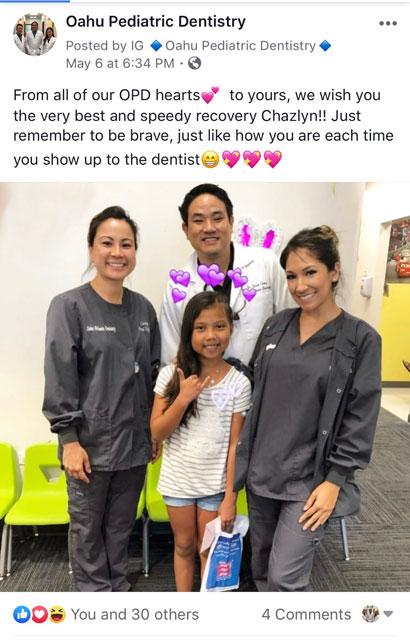 A social media post of Dr. Jason and a dental hygienist with Chazlyn at Oahu Pediatric Dentistry